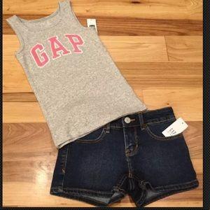 Gap Girls Gray & Pink Tank Top With Denim Shorts